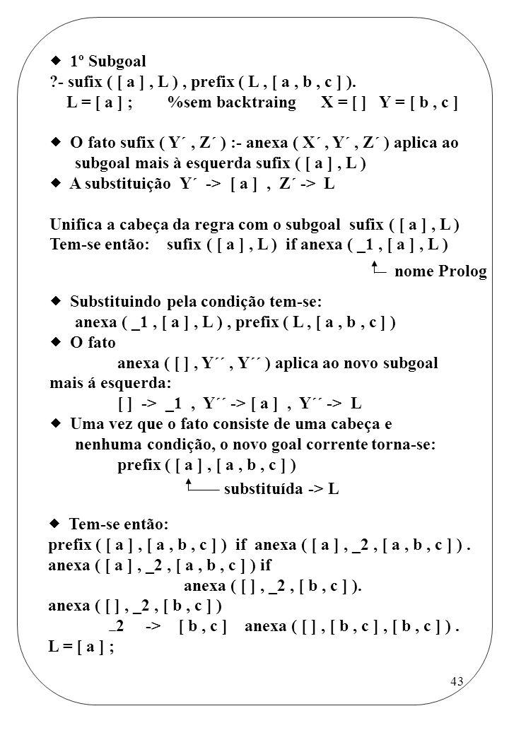  1º Subgoal - sufix ( [ a ] , L ) , prefix ( L , [ a , b , c ] ). L = [ a ] ; %sem backtraing X = [ ] Y = [ b , c ]